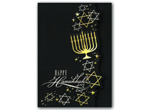 Golden Menorah Hanukkah Cards
